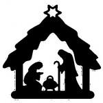 Weihnachtskrippe, Krippenfigur, Schnitzkunst, dunkles Holz